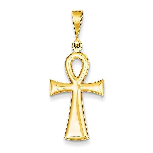Men/'s Yellow Gold Diamond Cut Egyptian Cross Ankh Pendant With Rope Chain