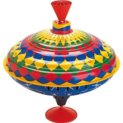 Bolz Classic Metal Spinning Tin Top Toy Multicolored: Toys & Games