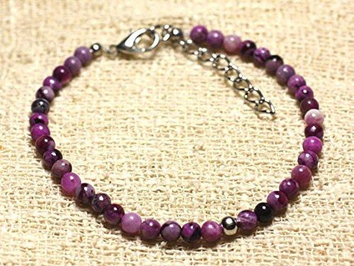 sterling silver and Sugilite 4 mm semi precious stone bracelet