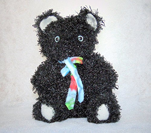 Handmade Black Curly Hair Teddy Bear with Bright Blue (Curly Teddy)