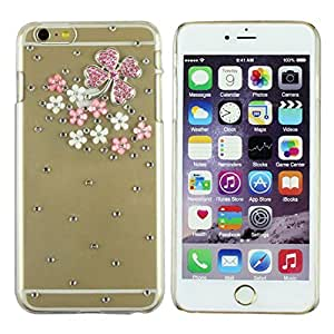 "WensLTDTM Premium Quality All Clear Rhinestone 3D Four Leaf Clover Shape Design Slim Fit Hard Back Case Cover for iPhone 6 Plus 5.5"" Rose"