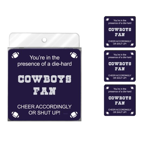 Tree-Free Greetings NC38115 Cowboys Football Fan 4-Pack Artful Coaster Set