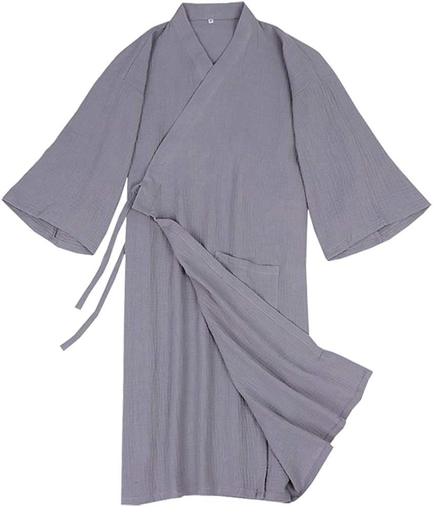 LifeHe Men's Yukata Cardigan Cotton Bathrobe Japanese Kimono Robe Pajama Gown