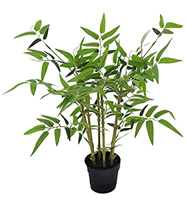 LuckyGreenery Artificial Bamboo, Realistic Fake Plants with Pots for Home and Office Decoration, 17in (H) x 16in (W)