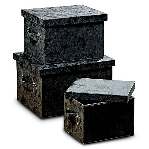 The Tribeca Large Faux Leather Boxes, Set of 3, Decorative, Stackable, Lush Gray, Brushed Suede Texture, Stitched Details, Side Handles and Silver Grommets, Storage and Organization, By WHW