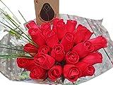 Valentines Day All RED Flower Bouquet The Original Wooden Rose (2 Dozen)
