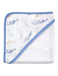 Hudson Baby Woven Towel with Muslin Hood, Blue Feathers, 30