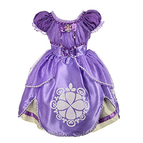 Rizoo Little Girls Cute Short Sleeve Summer Dresses Glittery Princess Sofia Costumes Cosplay Birthday Party Dress up (3T, Purple) ()
