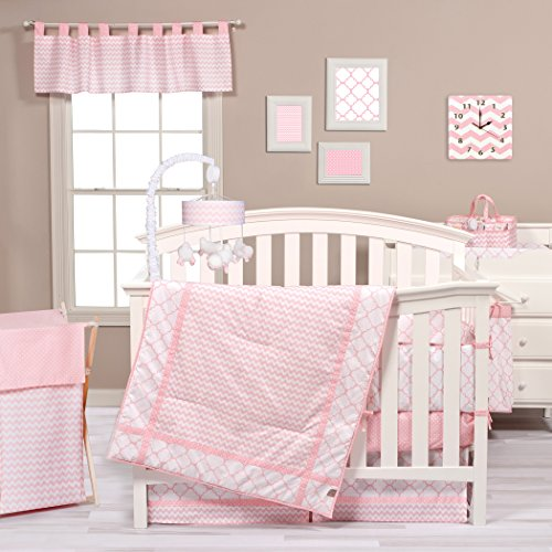 Lab Set Trend Pink Crib - Trend Lab Pink Sky 3 Piece Crib Bedding Set