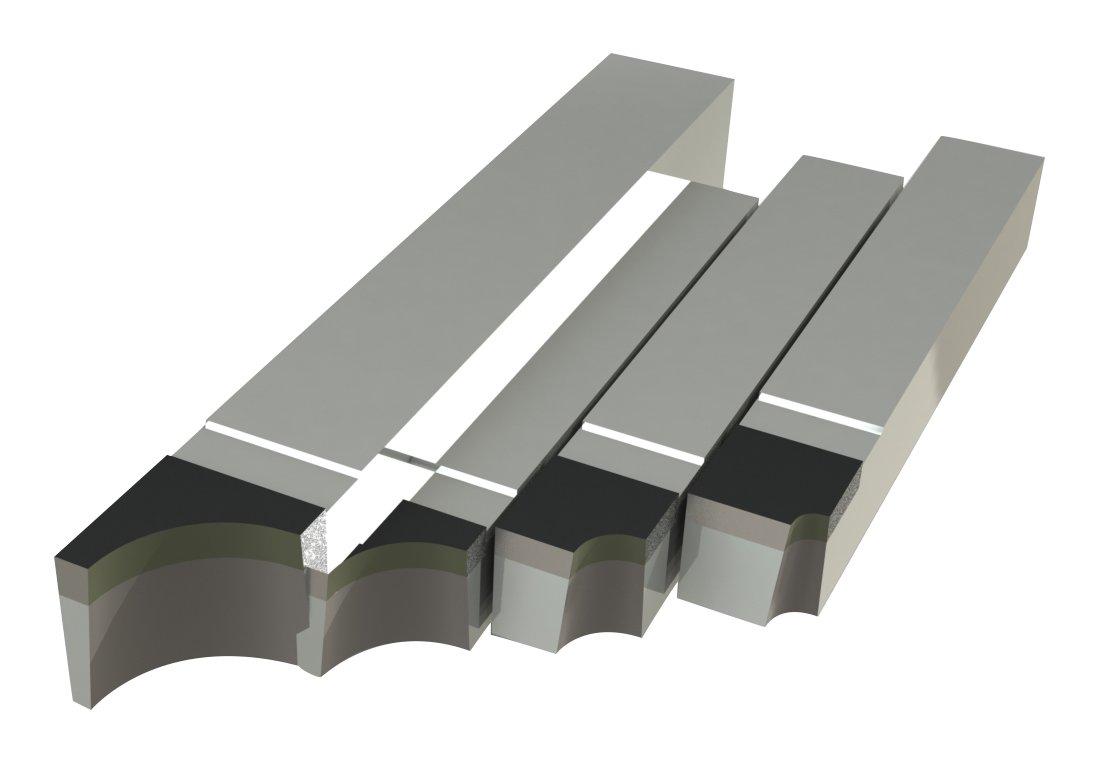 Micro 100, RAD-21, Brazed Tool Right Hand Square Shank Diameter Concave Radius ''Style RAD'' (Set of 4 Includes: 1/16'', 1/8'', 1/4'' and 3/8'' Radius)