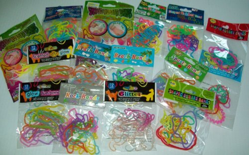 (288 Party Lot ~ Fun Bandz Shaped Rubber Band Bracelets (24 Packs) Sea, Princess, Animals, Western, Rock, Cars, Shapes, Beach, Glitter, Sports, Fashion Diva, Fruit)