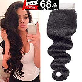 QTHAIR 12A Brazilian Body Wave Human Hair 4×4 Lace Closure(10inch,Free Part,1.23oz,Natural Black) Top Swiss Lace…