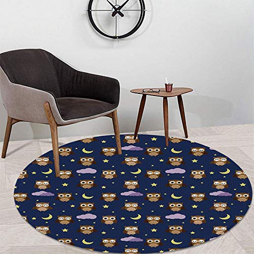 Nursery Short Fur Round Mat,Cute Owls in an Starry Night and Moon Happy Sleepy and Alert Animals Decorative for Home Meeting Room,47.24