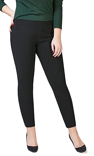 4e98a729ccf Papijam Womens Stretchy Plus Size Elastic Rise Solid Butt-Lift Long Pants  at Amazon Women s Clothing store