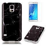 For Samsung Galaxy S5 / S5 Neo Marble Case with Screen Protector ,OYIME Creative Glossy Black Marble Pattern Design Protective Bumper Soft Silicone Slim Thin Rubber Luxury Shockproof Cover