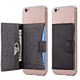 Cell Phone Card Holder Stick on Wallet Phone Pocket for iPhone, Android and All Smartphones (Black and Grey)