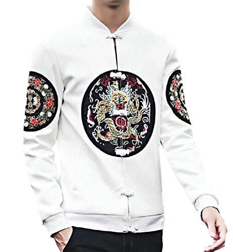 White Oversized Long Casual Style Sleeve RkBaoye Jacket Ethnic Men Jersey qWYzUIwFn