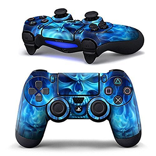 TFSM Branded Blue Flame Skull Fire Skull PS4 Playstation 4 Skin Decal for Single Controller