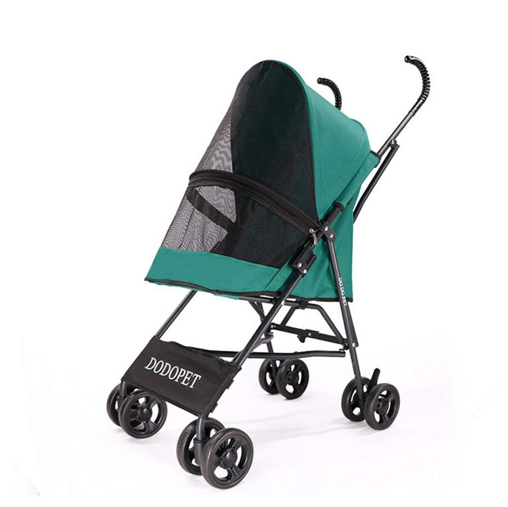 Green Pet Stroller for Puppy, Senior Dog or Cat One Button Storage, One Button to Open Non-Slip Handle Breathable Suitable for Small Pets