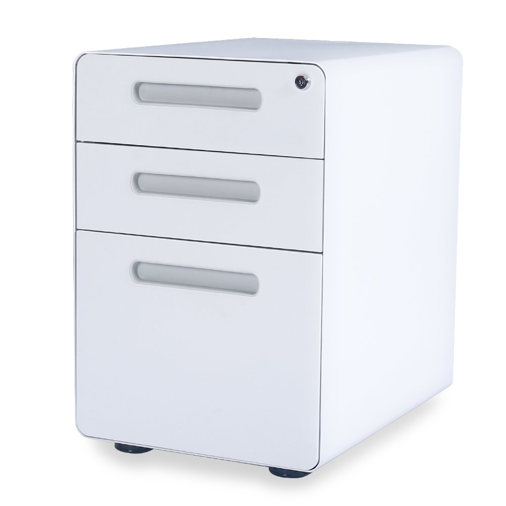 DEVAISE 3-Drawer Mobile File Cabinet with Anti-tilt Mechanism -Legal-Letter Size (White)