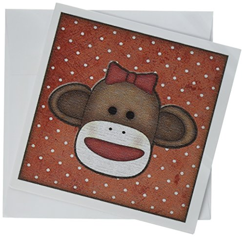 (3dRose Greeting Cards, Cute Sock Monkey Girl, Set of 6 (gc_102831_1))