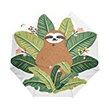 Best Greenery Umbrellas - Naanle Sloth Tropical Leaves Auto Open Close Foldable Review
