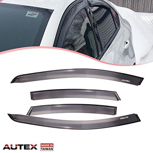 AUTEX 4 Pcs Tape On Window Visor Compatible with Dodge Dart 2013 2014 2015 2016 Window Deflector Visor Sun Rain Shade Wind Guard, Made in Taiwan