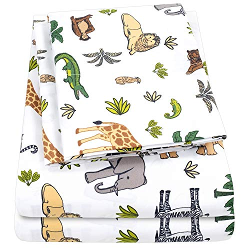 1500 Supreme Kids Bed Sheet Collection - Fun Colorful and Comfortable Boys and Girls Toddler Sheet Sets - Deep Pocket Wrinkle Free Hypoallergenic Soft and Cozy Bedding - Twin, Wild Animal Kingdom - Kids Toddler Sheet Set