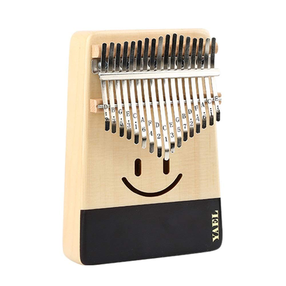 Smile Face Spruce Wood Thumb Piano Standard C Tune 17 Keys Kalimba Finger Piano Metal Engraved Notation Tines with Tuning Hammer Pickup Carry Bag Kids Musical Instrument Gifts by TAESOUW-Musical