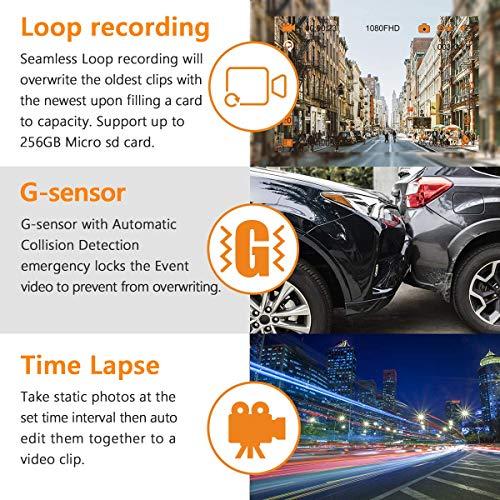 Vantrue T2 24/7 Recording OBD2 Dash Camera Super Capacitor Dash Cam 1920x1080P 2.0'' LCD 160° Car Dashboard Camera w/Microwave Parking Mode Recorder, Night Vision, Sony Sensor, Support 256GB Max by VANTRUE (Image #6)