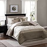 Madison Park MP10-2469 Bradford 7 Piece Comforter Set, Queen, Taupe