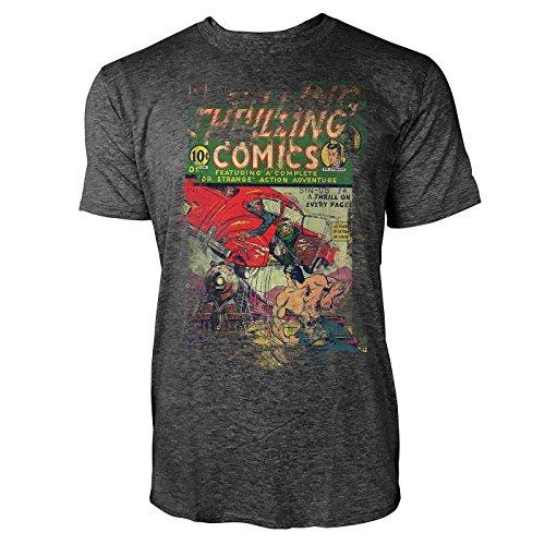 SINUS ART® Thrilling Comics Herren T-Shirts stilvolles dunkelgraues Cooles Fun Shirt mit tollen Aufdruck