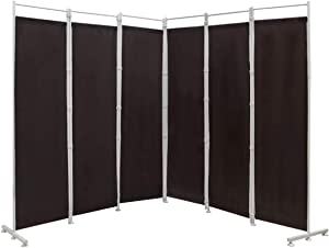 Nightcore 6 Ft Room Divider, 6 Panel Folding Privacy Screen, Freestanding Partition with Adjustable Foot Pads, Perfect Wall Divider for Home Office (Brown)