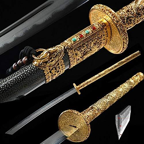 GLW Sword Sharp Kangxi Sabre Sword Broadsword Honsanmai Steel Blade 24K Gold-Plated 100% Handmade Grinding Polishing…