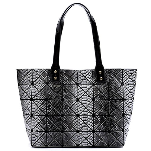 Fashion Glad Checkered PU Leather Geometric Women's shoulder top handle fashion handbag (Black SN)