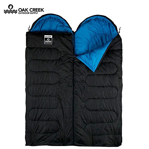 Oak Creek Double Sleeping Bag Bundle | Two Separate Sleeping Bags Designed to Zip Together to Form A Huge Double (85 Inches Long by 58 Inches Wide) or Used Separately | Perfect for 3 Season Camping by Oak Creek Outdoor Supply