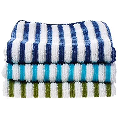 Ritz 16 by 19-Inch Stripe Microfiber Bar White Mop Towel, Green/Blue Stripes, 3-Pack