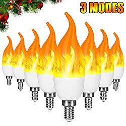 Severino E12 Flame Bulb LED Candelabra Light Bulbs,1.2 Watt Warm White LED Chandelier Bulbs,1800k 3 Mode Candle Light Bulbs, Flame Tip