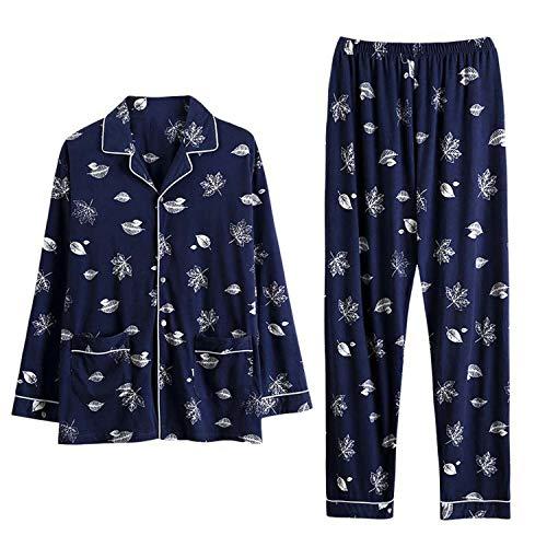 2019 New Pjs Mens Sleepwear Lapel Pijama Plain Style 100% Cotton Leisure Cardigan Long Sleeves,98237,L