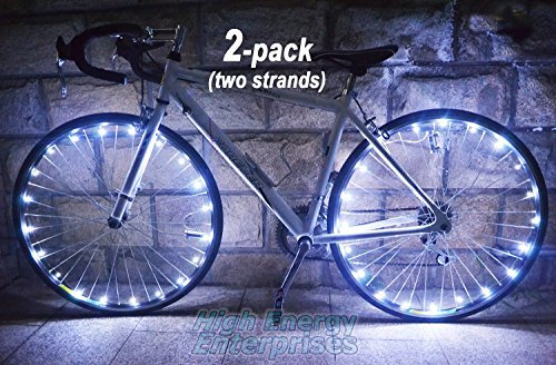 LED BikeStrings (White Pair) - Bright, flexible wire MicroLED light strings - Dazzling display - Light up your bike! Cast light all around you. Be safe: Be visible; Be seen!