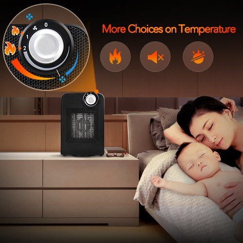-[ Portable Fan Heater - 1800W Mini Oscillating Heater with Adjustable Thermostat, Super Silent Hot