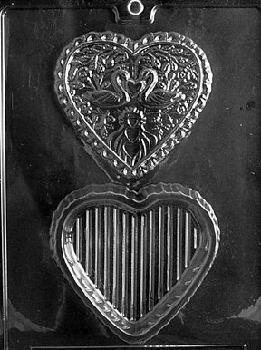 Box Candy Molds (Cybrtrayd W032 Swan Heart Pour Box Wedding Chocolate Candy Mold)