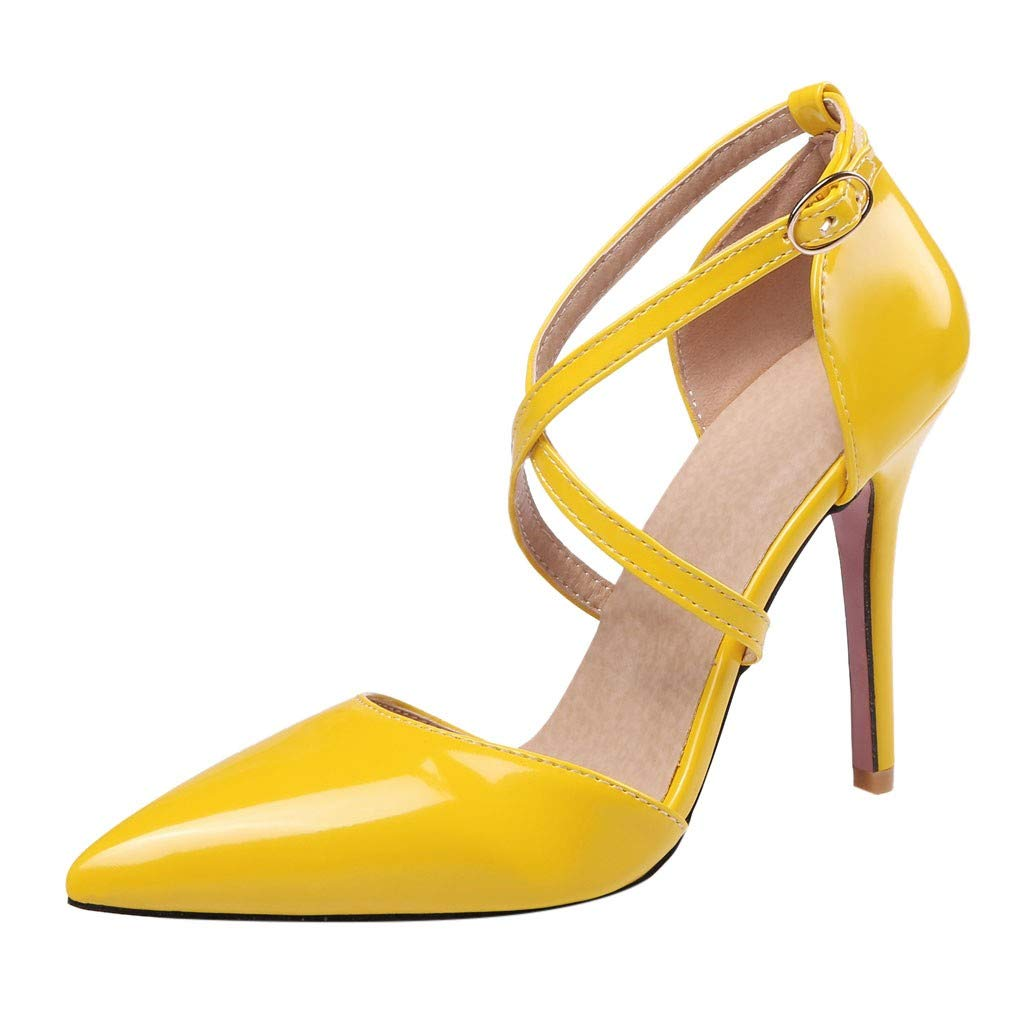 Claystyle Womens Closed Toe High Heel Dress Party Pump Sandals Cross Straps Pointed Casual Shoes(Yellow,US: 6)