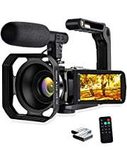 Camcorder Video Camera, 4K 48MP WiFi Digital Camera Recorder, 3.0 inch Touch Screen Vlogging Camera for YouTube Webcam Recorder with External Microphone, Remote Control, Lens Hood, Stabilizer