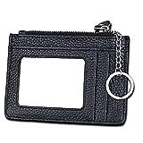 Slim RFID Blocking Card Wallet,Gazigo Minimalist Leather Credit Cards Holder with ID Window and Keychain (Slim RFID Blocking Card Wallet Black, One_Size)