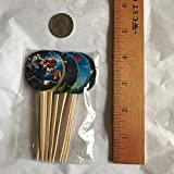 Party Over Here Super Mario Bros. Video Game Double-sided Images Cupcake Picks Cake Topper -12