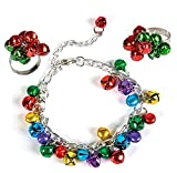 3 Piece Christmas Jingle Bell Bracelet and Ring Bundle Set for Kids or Adults