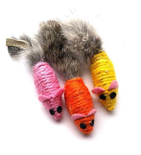 Kats'N Us Sisal Mouse Cat Toy Rabbit Fur Tail - 3 pk