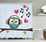 Owl Shower Curtain Ambesonne Music Decor Collection, Cute Cartoon Owl with Headphones Hearts Leaves Fashion Playful Jolly Fun Image, Polyester Fabric Bathroom Shower Curtain Set with Hooks, Blue Pink Black