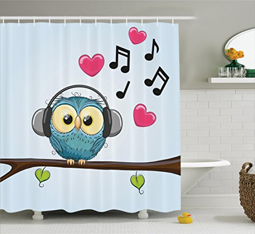 Ambesonne Music Decor Collection, Cute Cartoon Owl with Headphones Hearts Leaves Fashion Playful Jolly Fun Image, Polyester Fabric Bathroom Shower Curtain, 75 Inches Long, Blue Pink Black (Heart Playful)